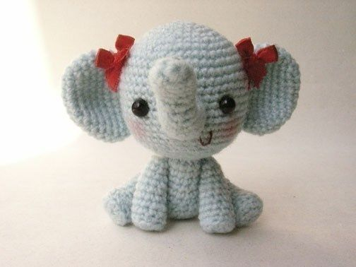 Free Crochet Patterns Elephant : Adorable Crocheted Elephant Pattern. amigurumi Pinterest