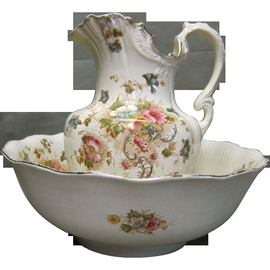 antique flo blue pitcher and basin set wash bowl pitcher set pinterest basin bowls and. Black Bedroom Furniture Sets. Home Design Ideas