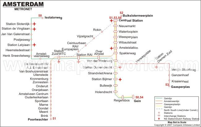 Amsterdam Metro Map | World Maps | Pinterest | Train map and ...