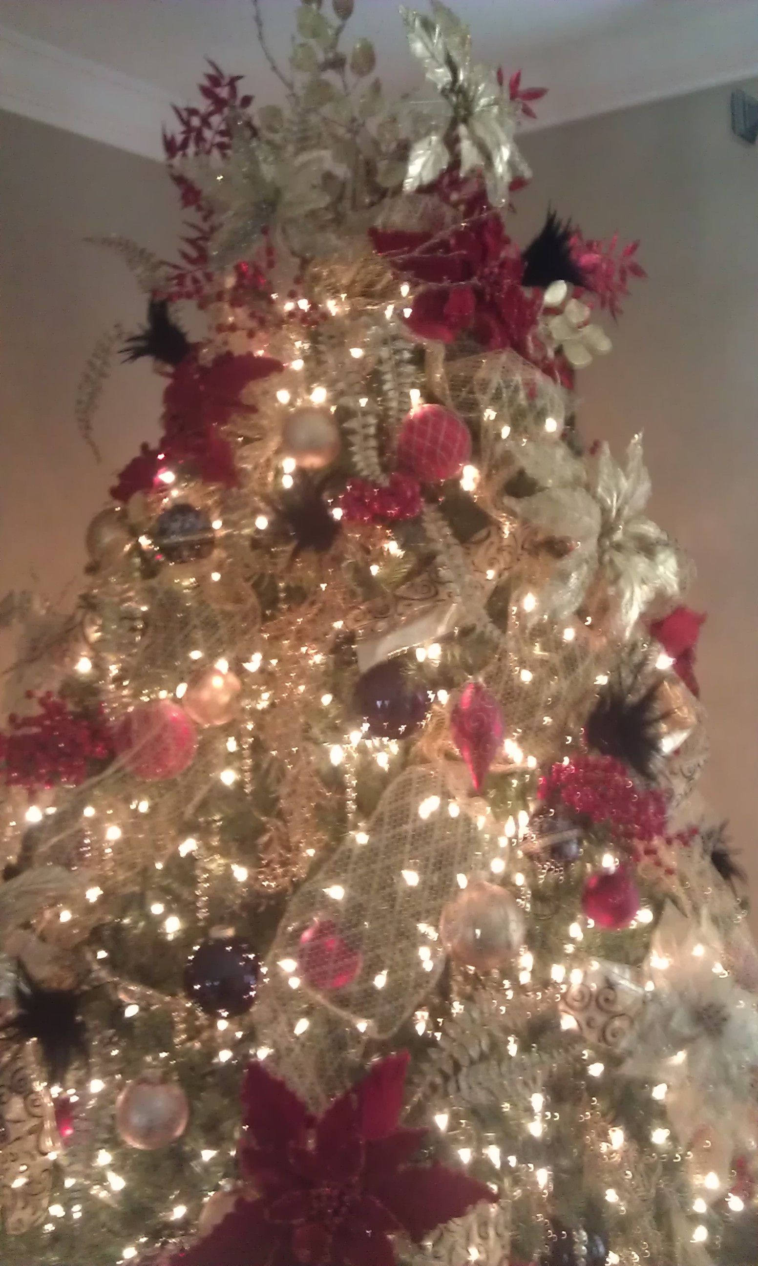 Red and gold christmas tree holiday happenings pinterest
