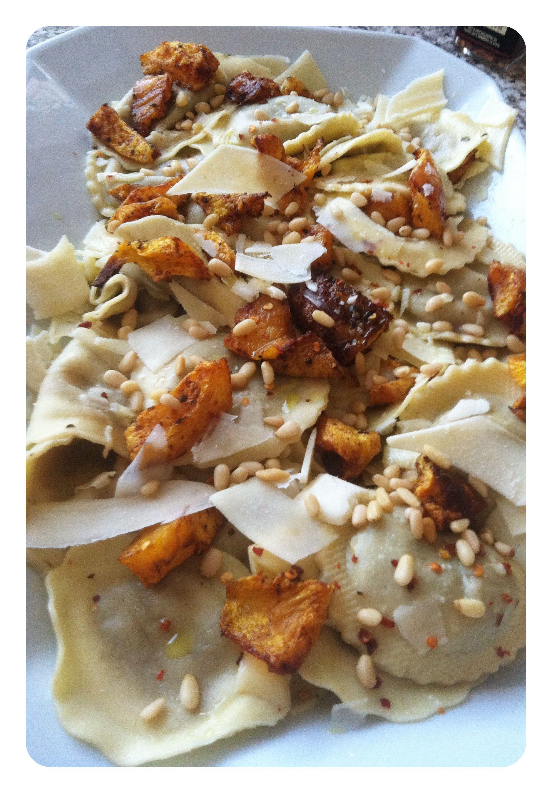 Fall Dinner. Portobello mushroom ravioli with roasted squash ( with ...