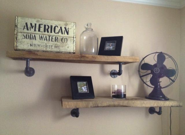 diy wood galvanized pipe shelves man cave ideas pinterest
