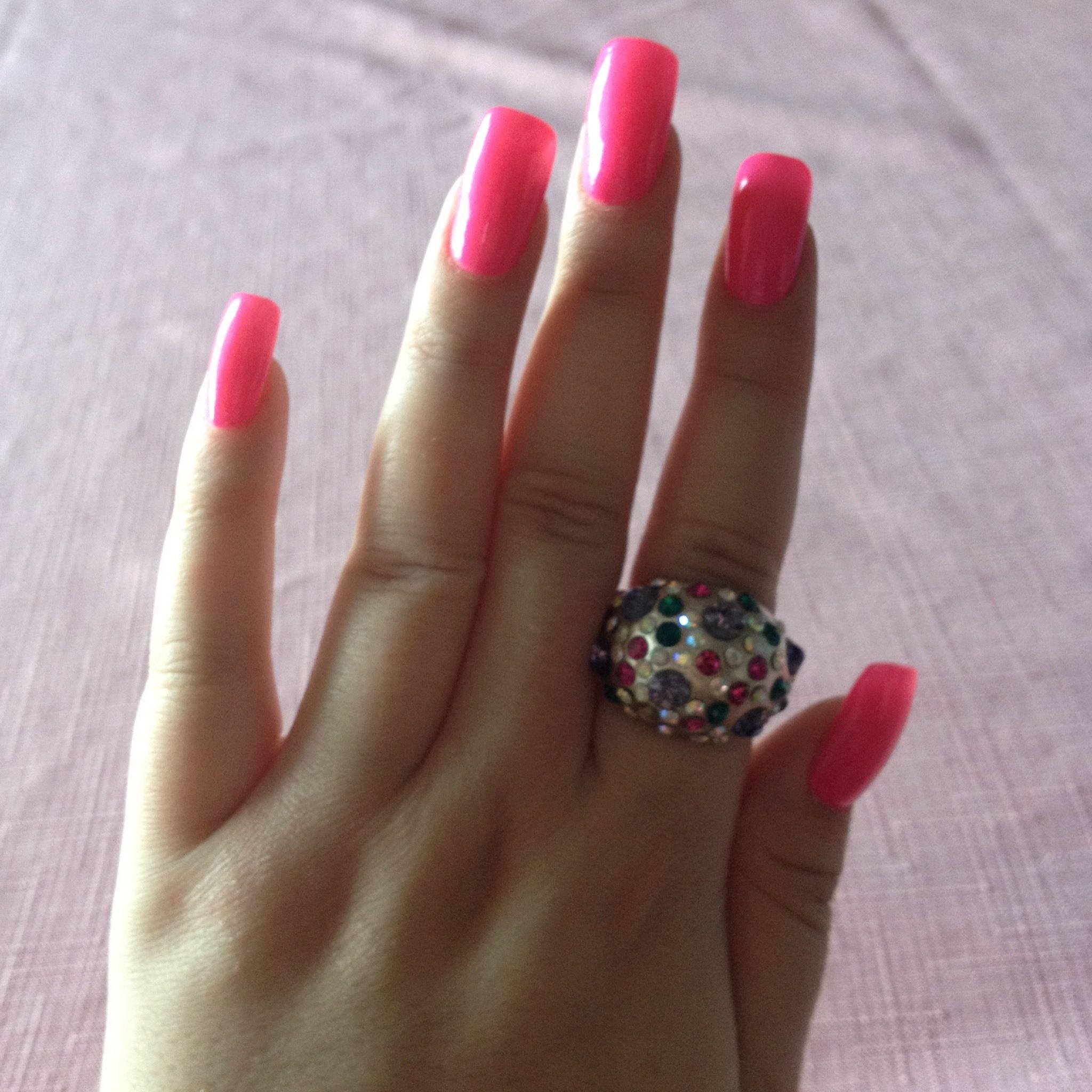 Fake Nails: Long Fake Nails .. Bright Pink