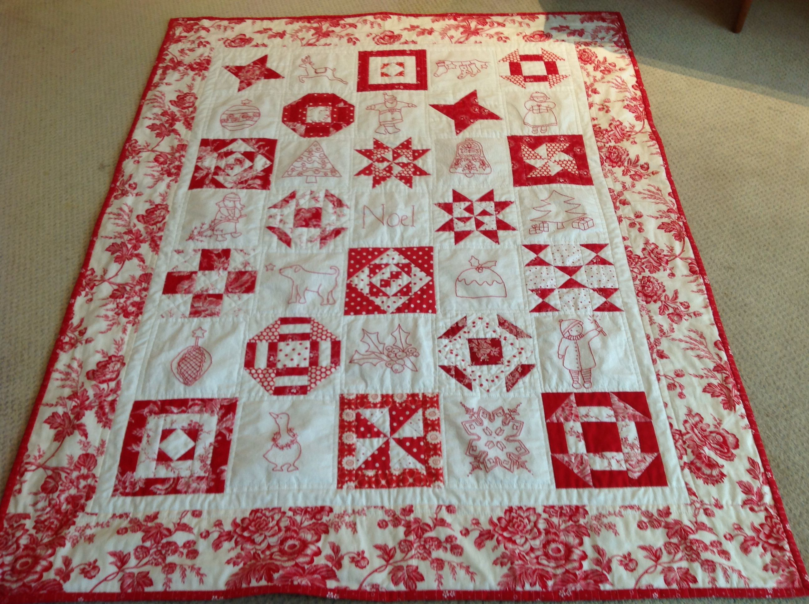 Redwork Quilt Patterns Christmas : My Christmas Redwork quilt 2013 Quilt patterns Pinterest
