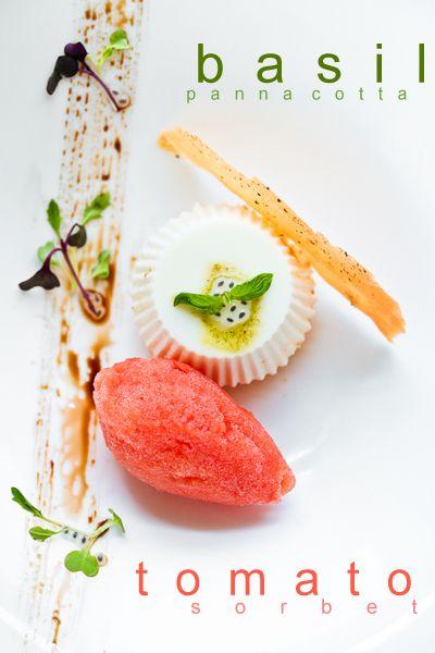 Tomato Sorbet and Basil Panna Cotta | Sweet | Pinterest