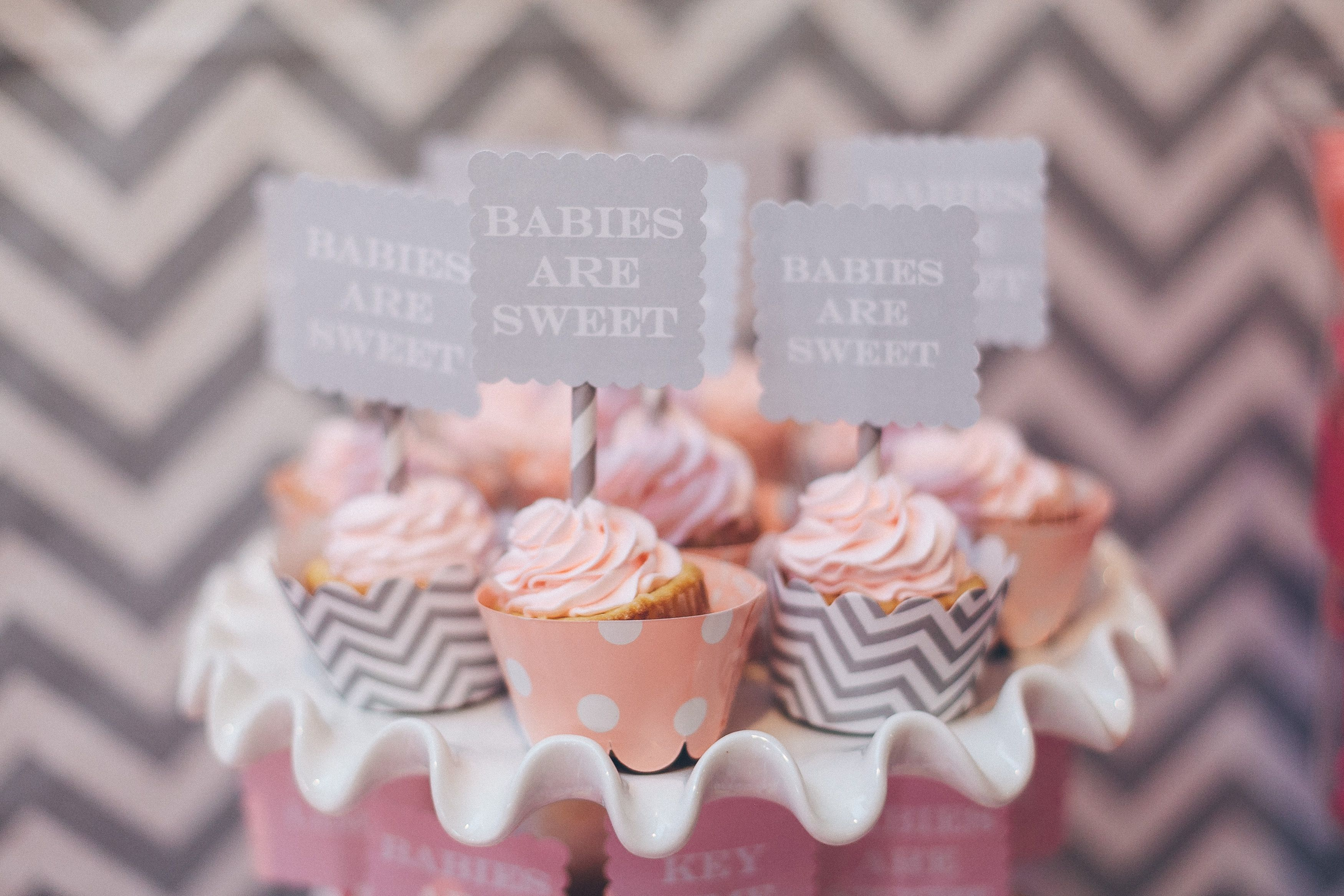 pink and gray baby shower cupcakes baby baby