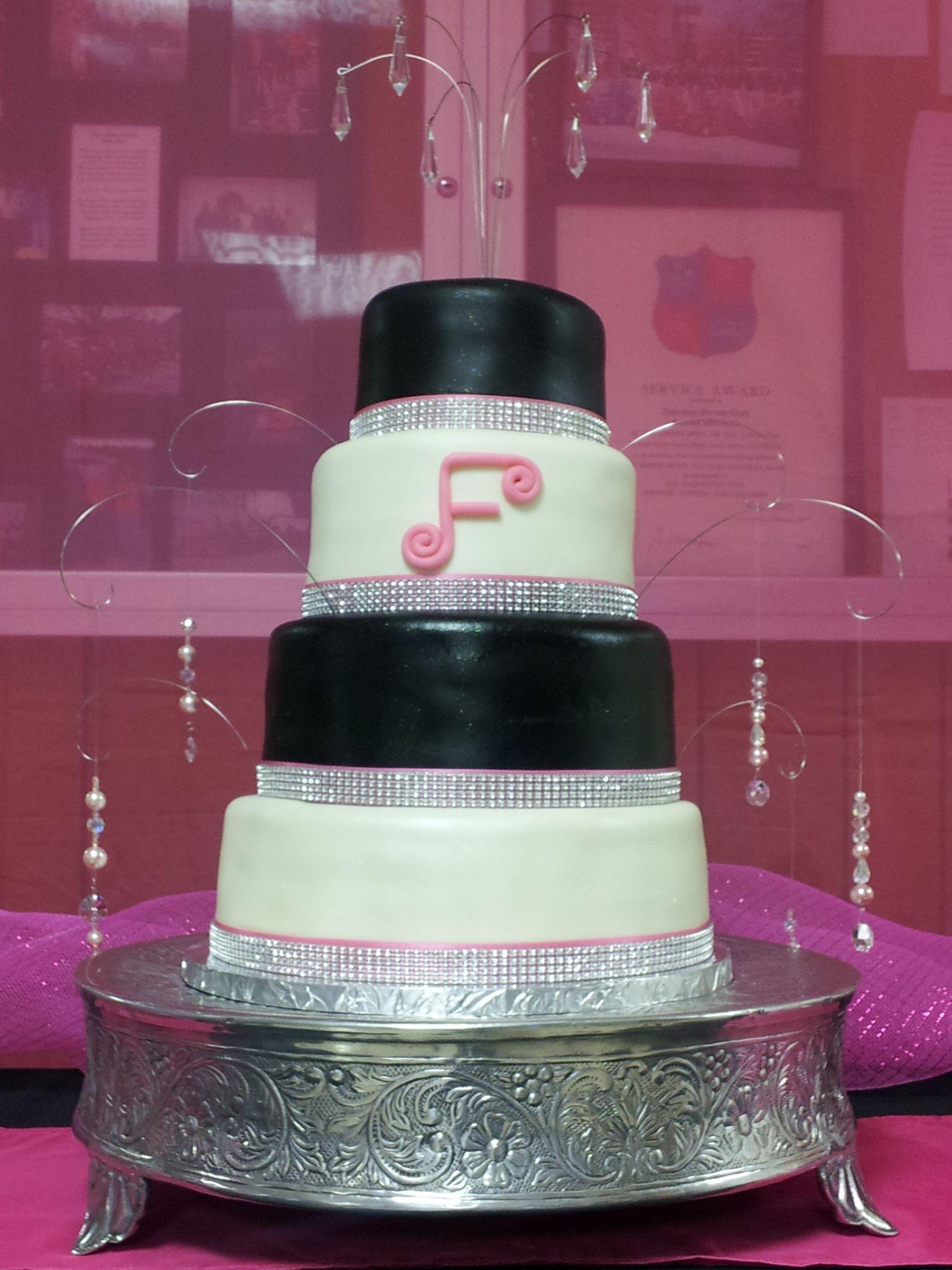 Pin Pink Black And White Bling Wedding Cake By Cake on