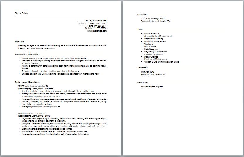 sample clerical resumes