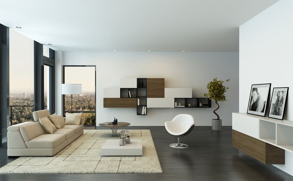 Woonkamer Kasten Modern: Moderne woonkamer grijs witte interieur ...