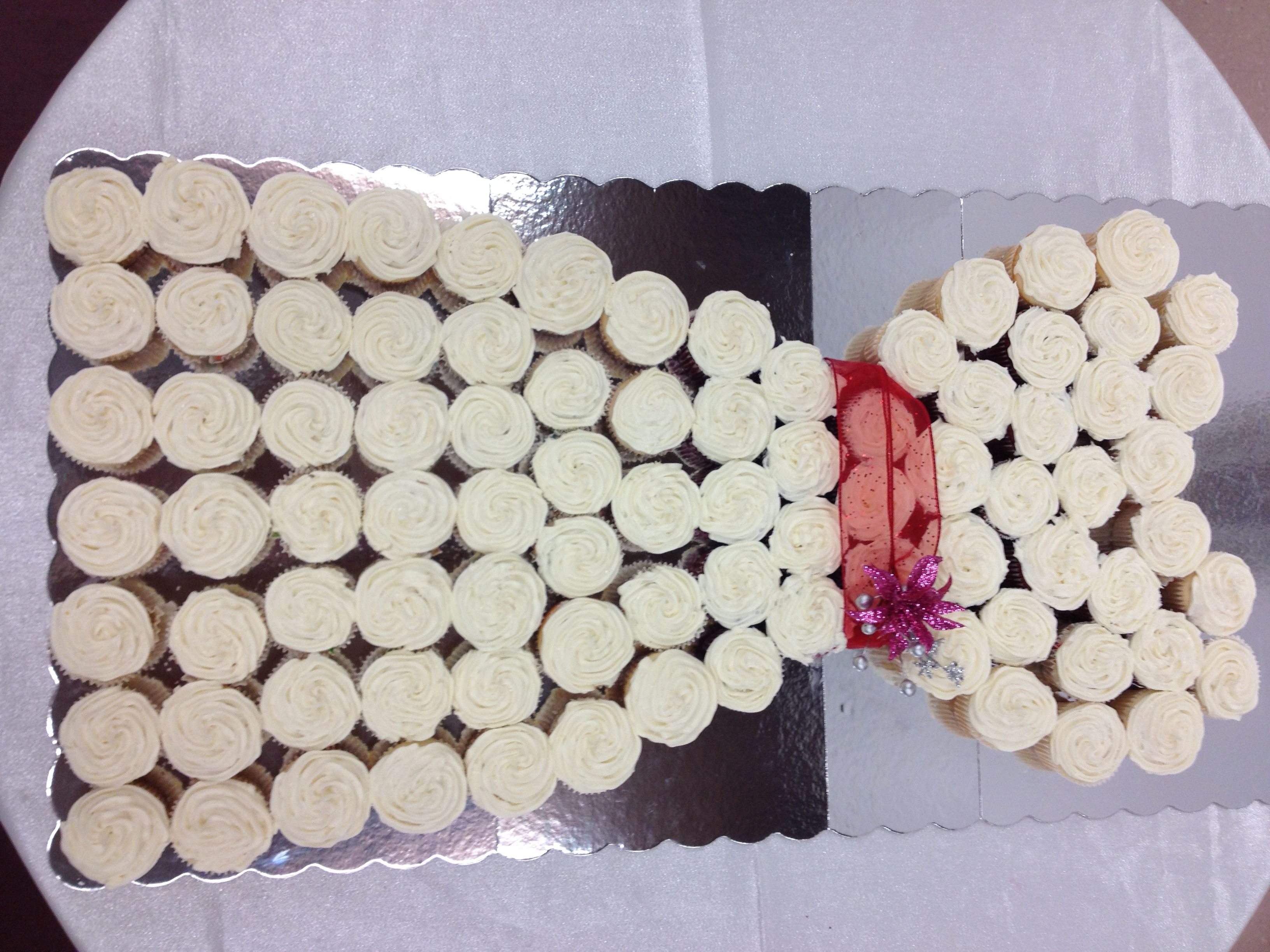 Wedding dress cake made out of cupcakes pictures
