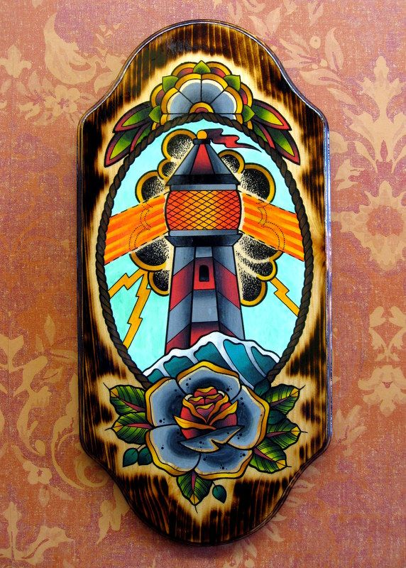 By zack taylor lighthouse rose flower painting wood for Traditional americana tattoos