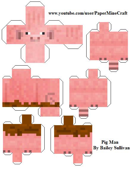 Майнкрафт из бумаги как сделать свинью из