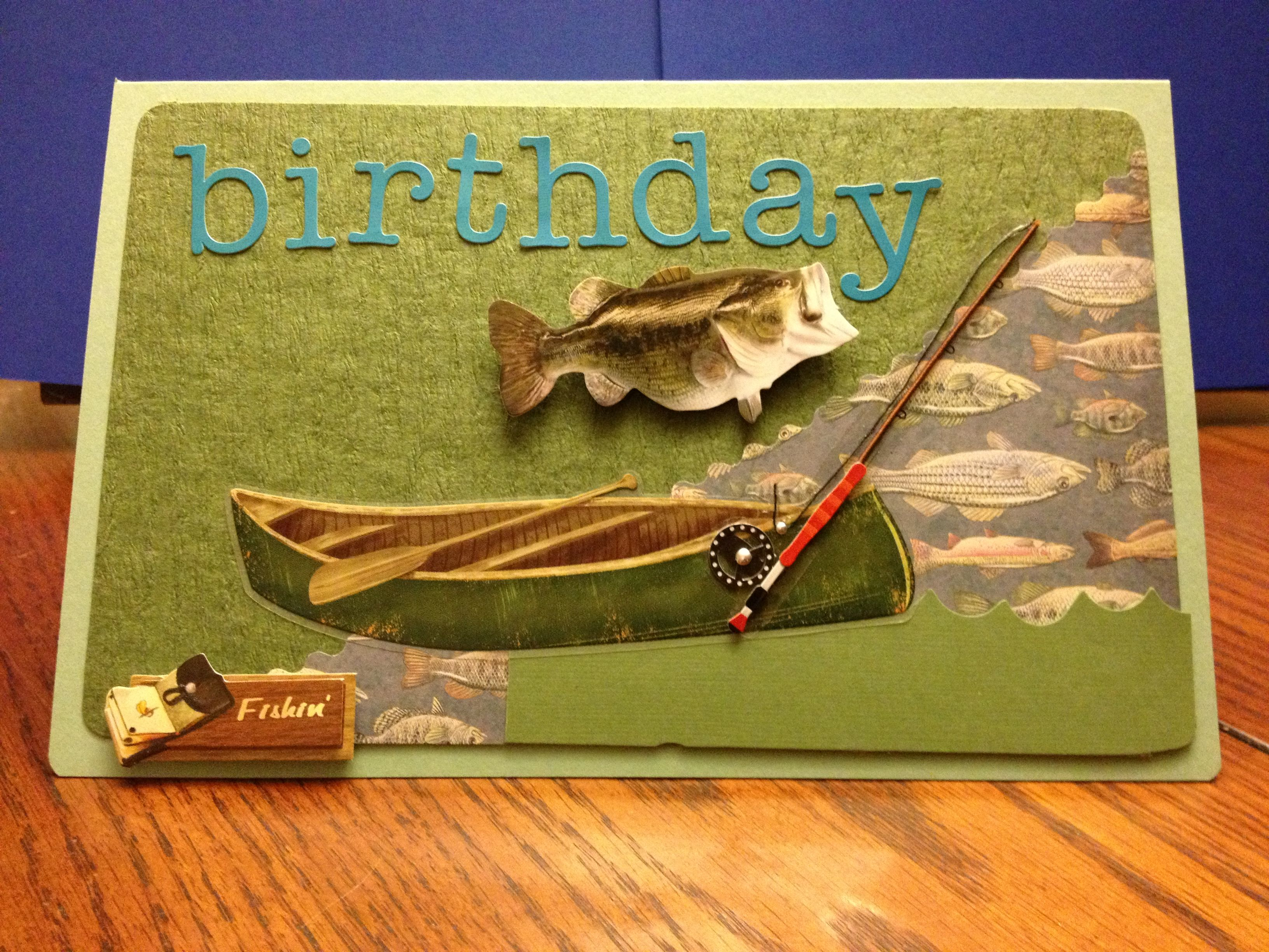 Fishing birthday card handmade cards pinterest for Fishing birthday cards