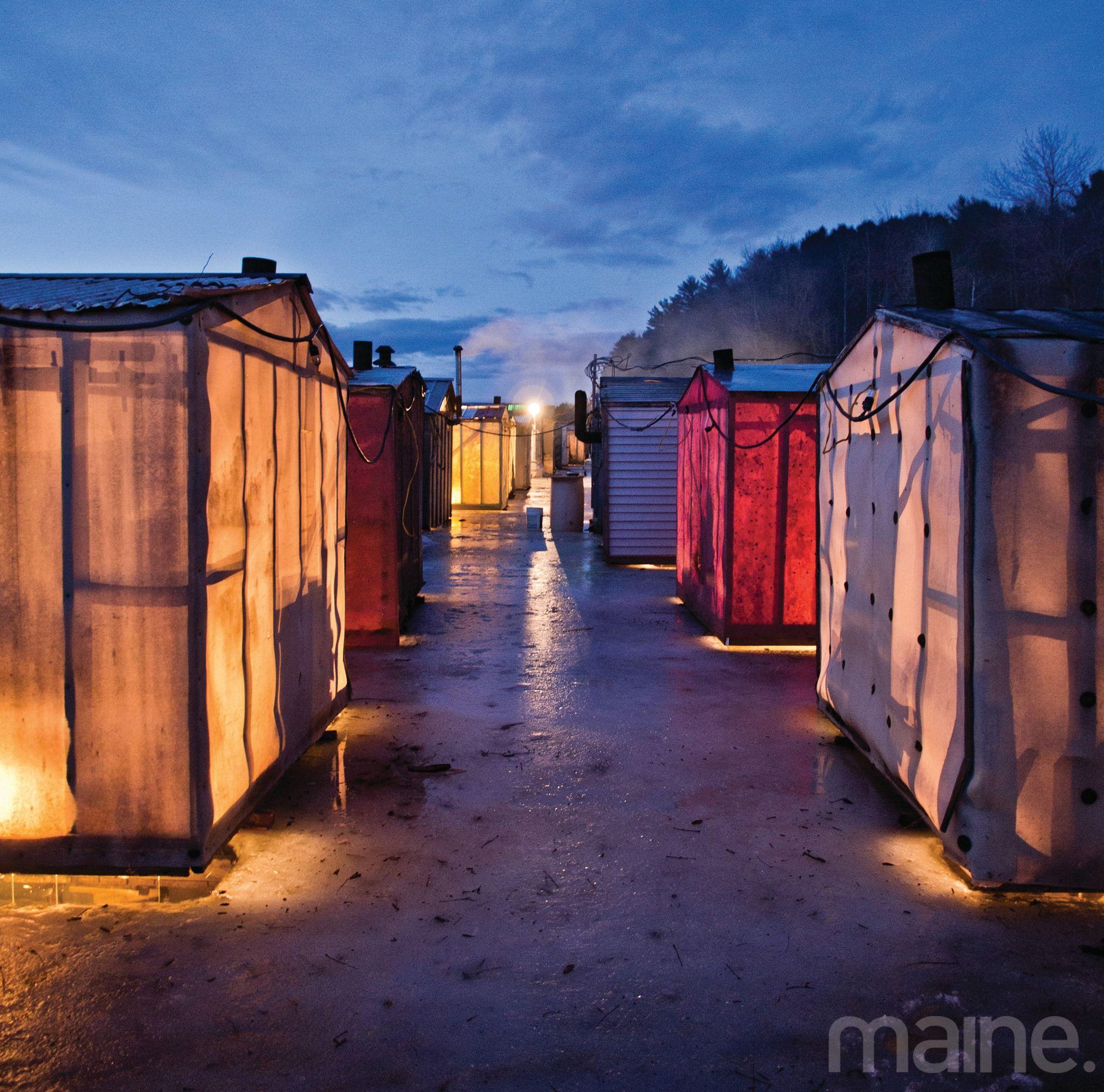 Ice fishing shacks maine ice fishing pinterest for Maine ice fishing