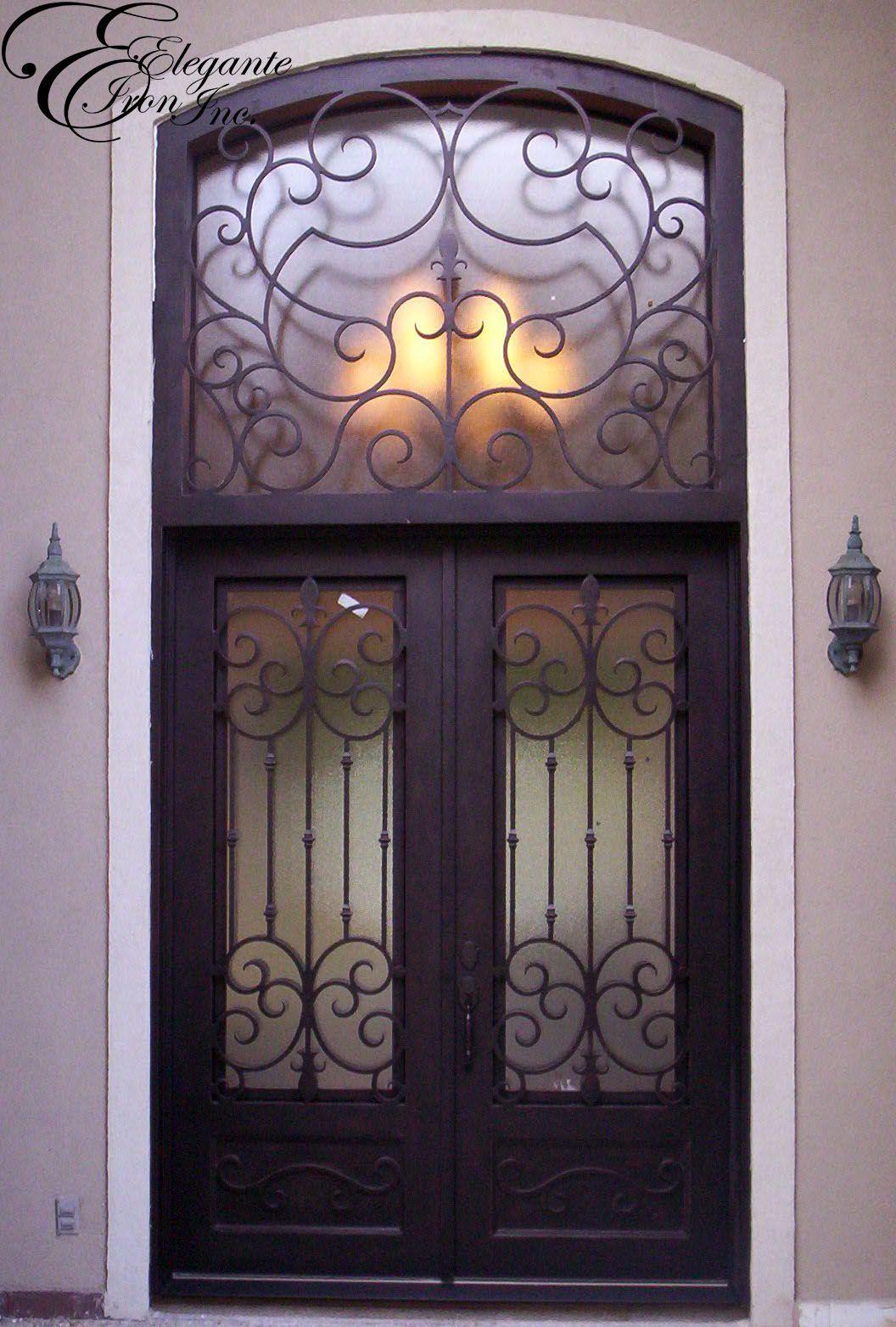 Custom Wrought Iron Door With Transom Double Doors