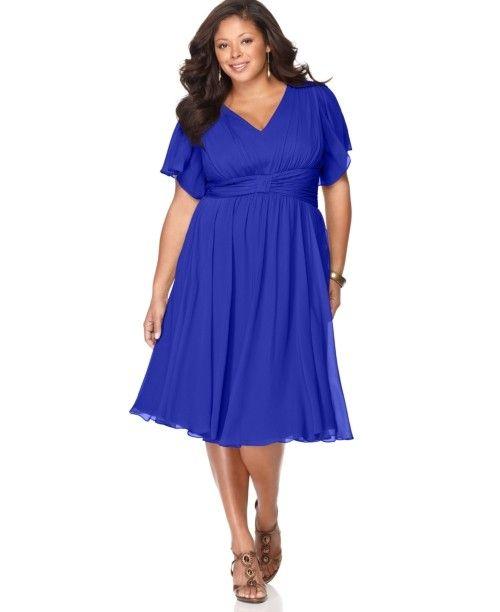 Синее коктейльное платье для полных