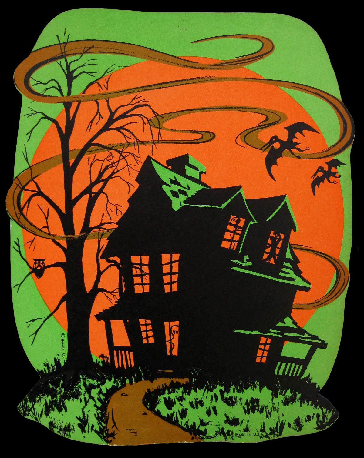Vintage beistle haunted house decoration l l o w n for Antique halloween decoration