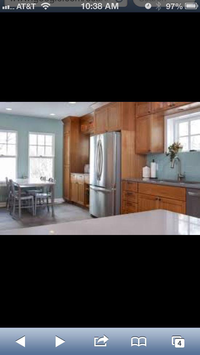Blue gray walls and oak cabinets !  Kitchen  Pinterest