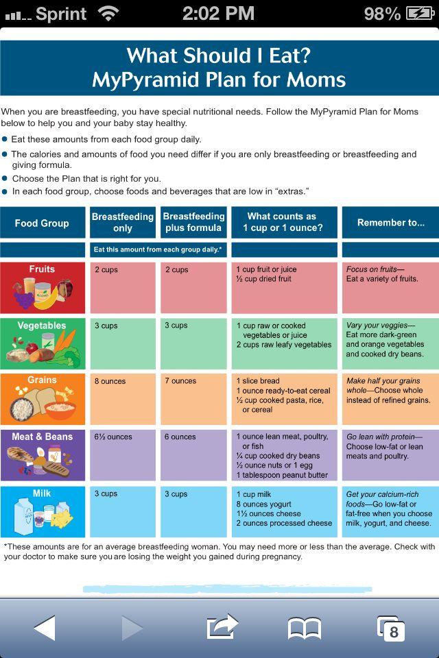 Sample meal plan for breastfeeding moms | Baby | Pinterest ...