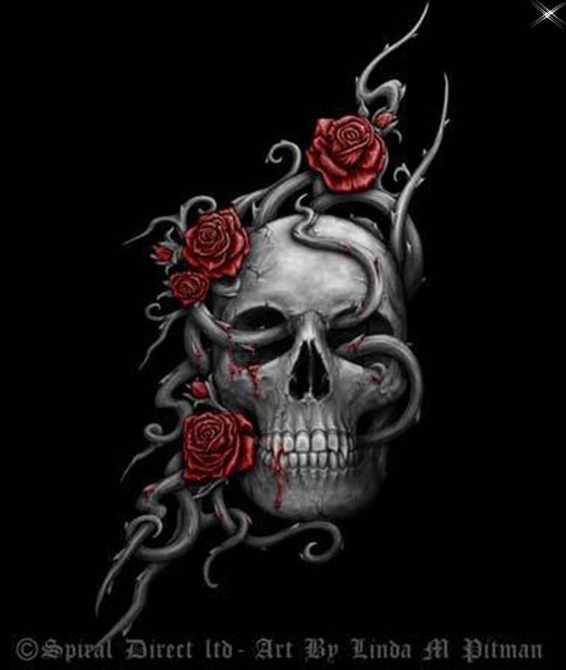 Skull Rose by sheblackdragon | Skulls... | Pinterest