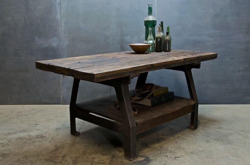 Work Bench Style Kitchen Dinning Table Industrial Vintage Pintere