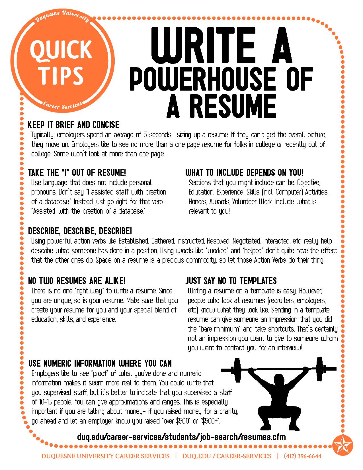write a powerhouse of a resume resume tips pinterest