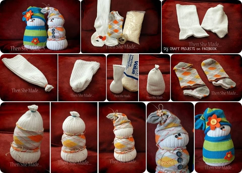 Diy sock snowmen winter decorations pinterest
