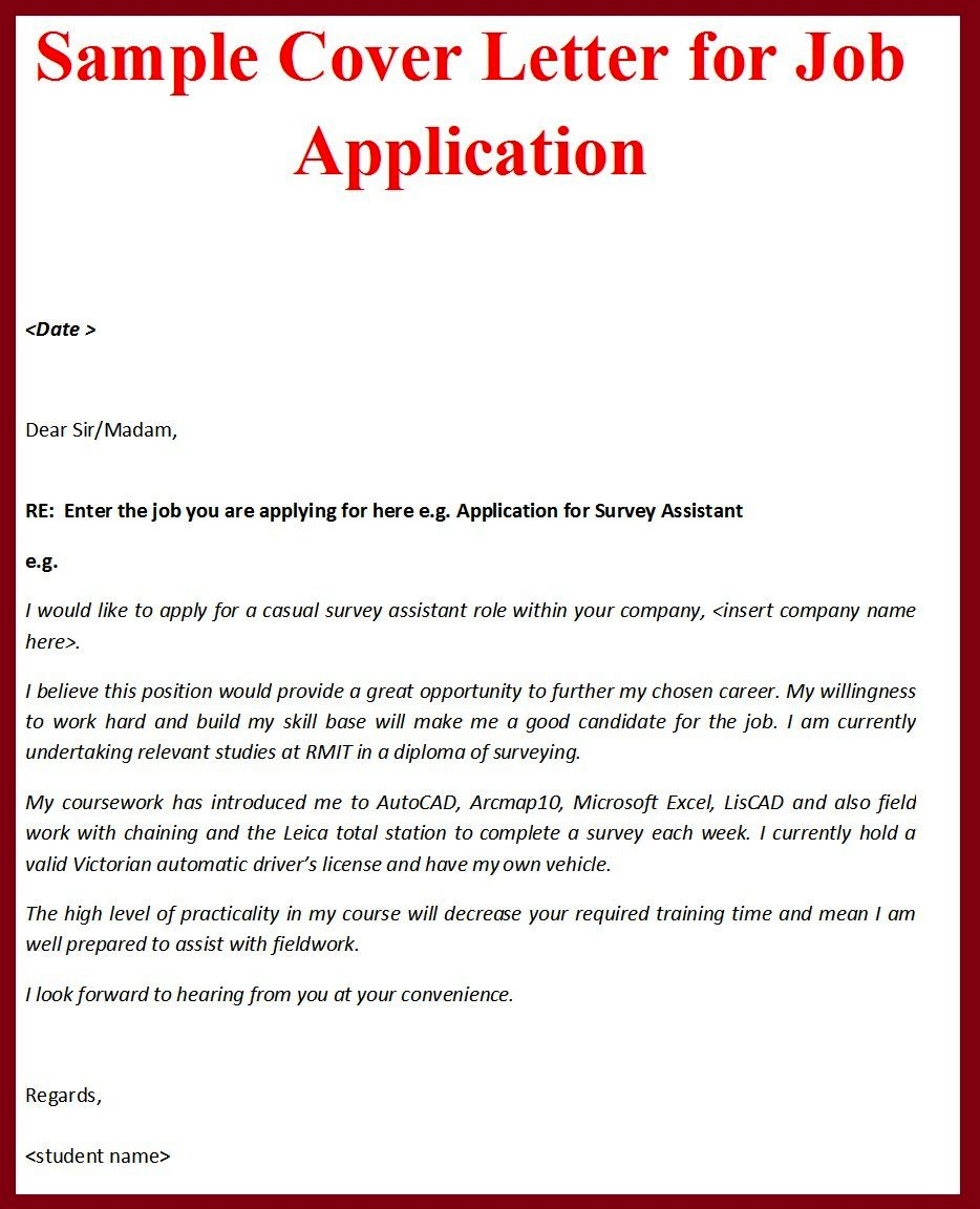 job application letter sample cv