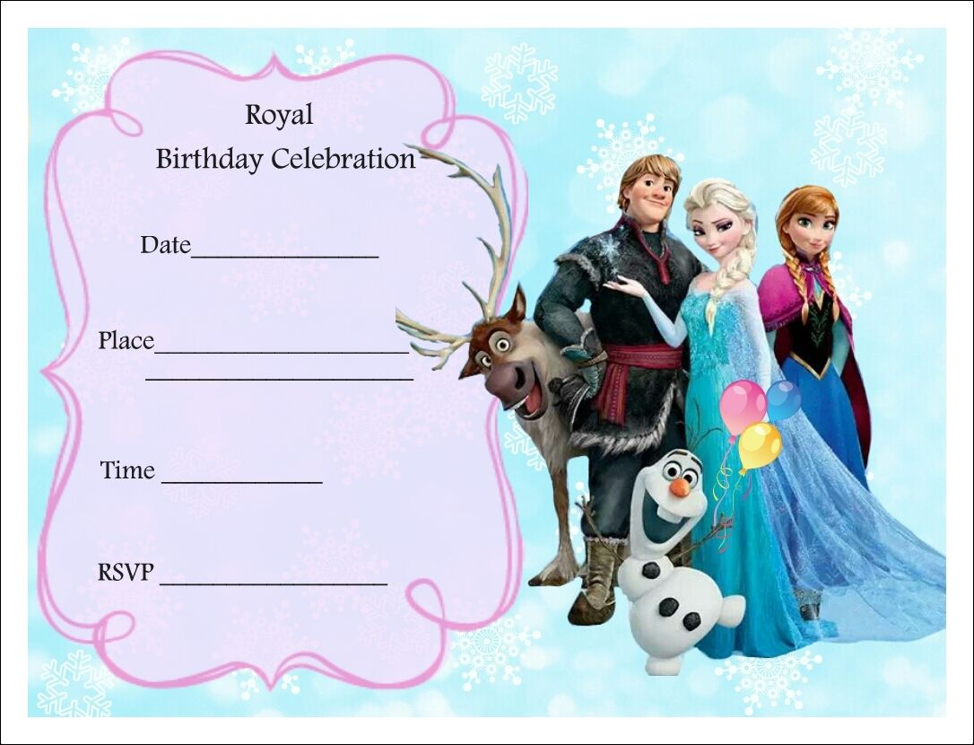 Punchy image with regard to printable frozen birthday invitations