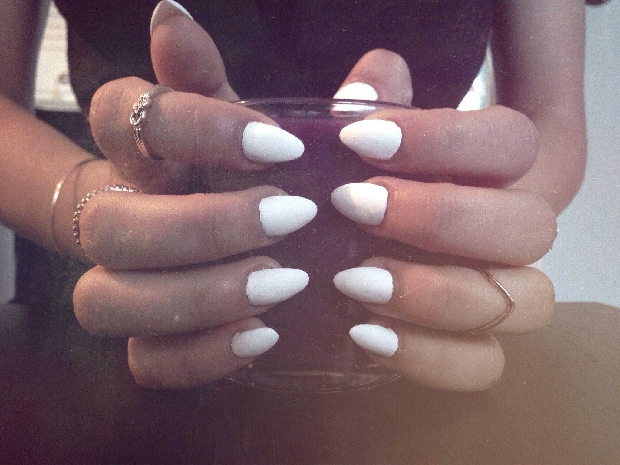 White matte nails, fashion, acrylics | Nails | Pinterest
