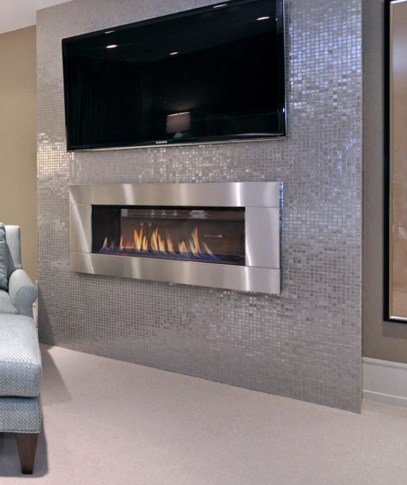 Modern ventless fireplace basement time pinterest for Contemporary ventless fireplace