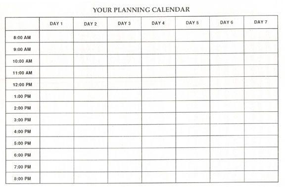 Blank Calendar List – Printable Editable Blank