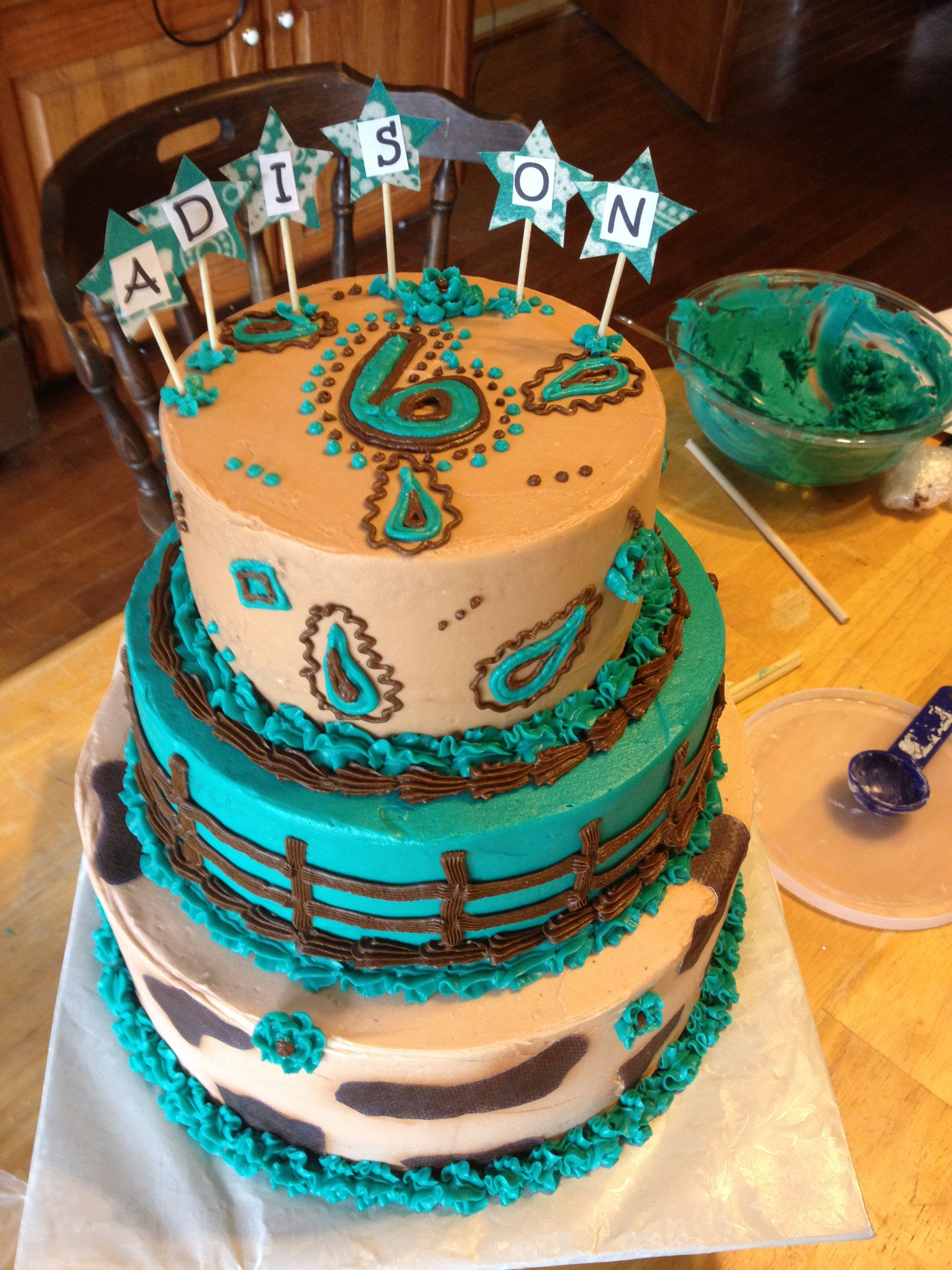 Pin Tiered Turquoise Brown Birthday Cake Cow Print Kidlets
