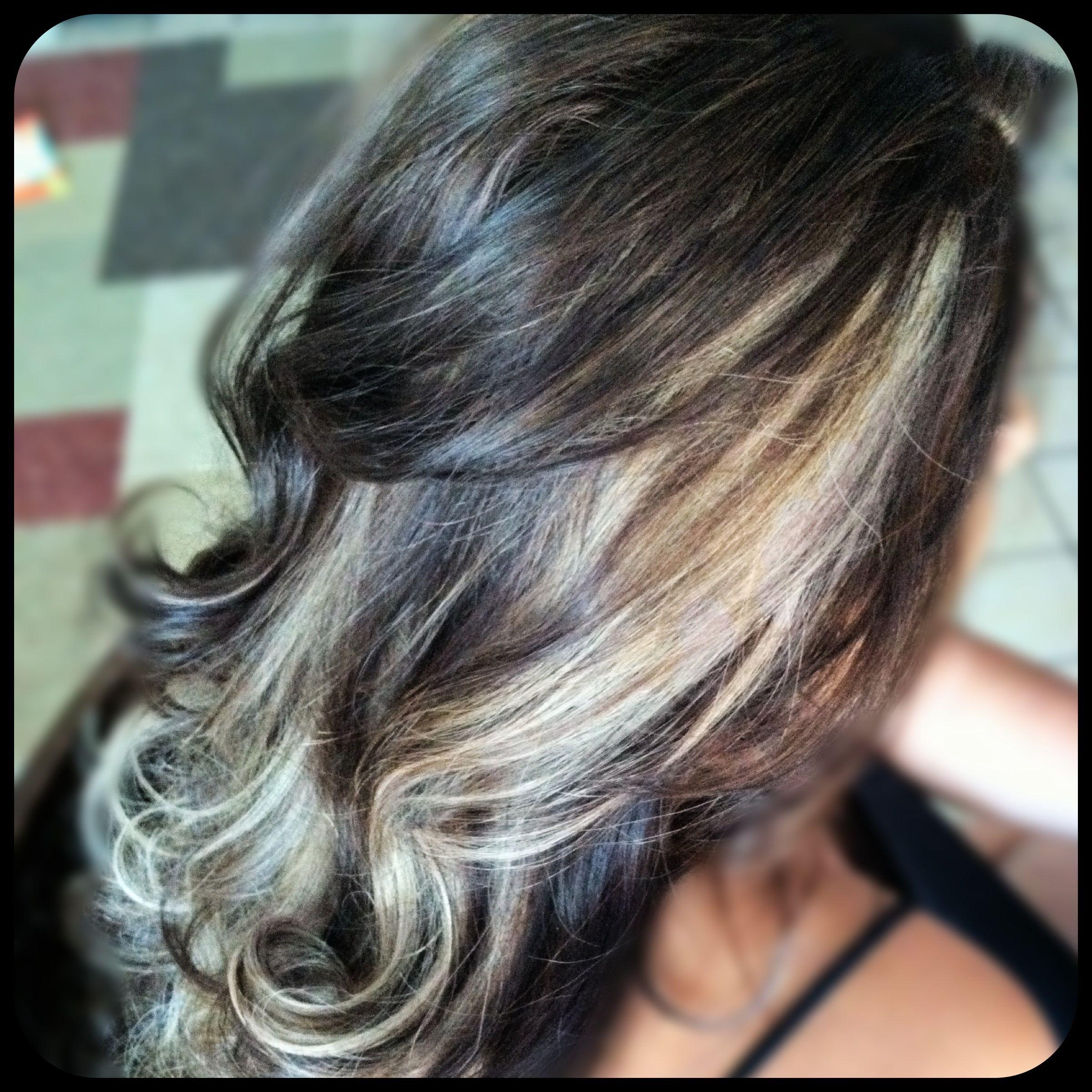 chocolate brown hair color with blonde peek a boo highlights | Hair ...