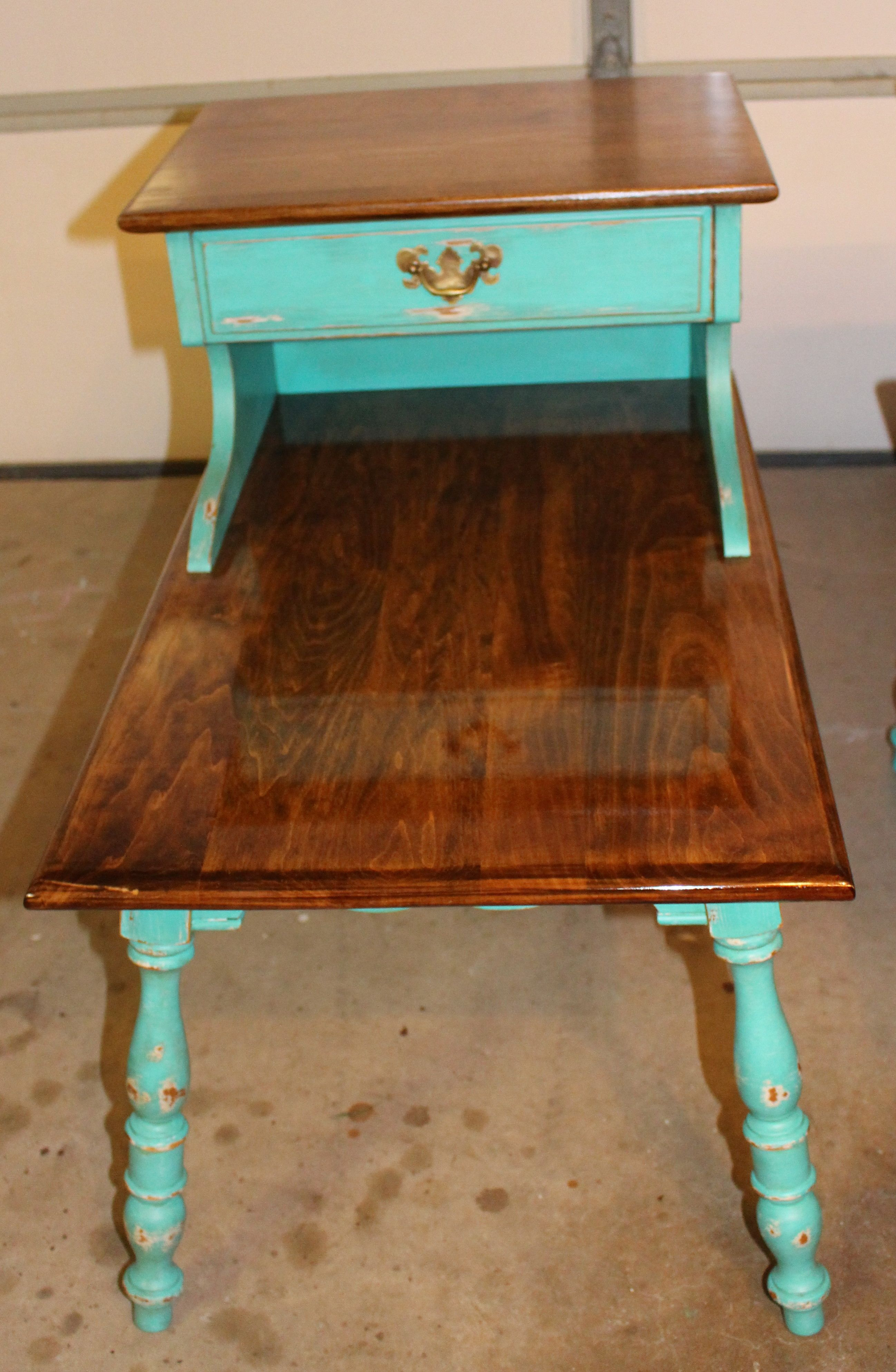 Turquoise distressed end table My new home ideas