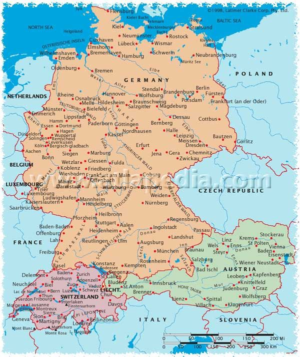 Political Map Of Germany Austria Switzerland