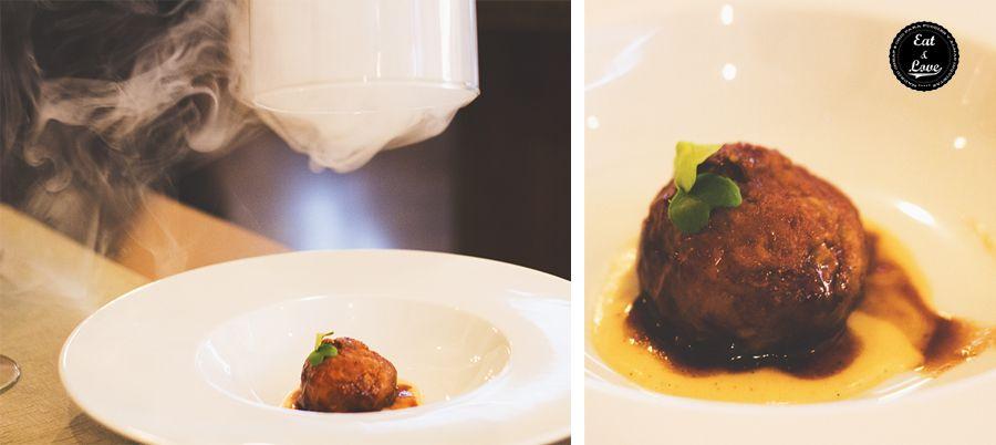 Albóndigas guisadas de rabo de toro con puré especiado de patata - Restaurante Bacira Madrid