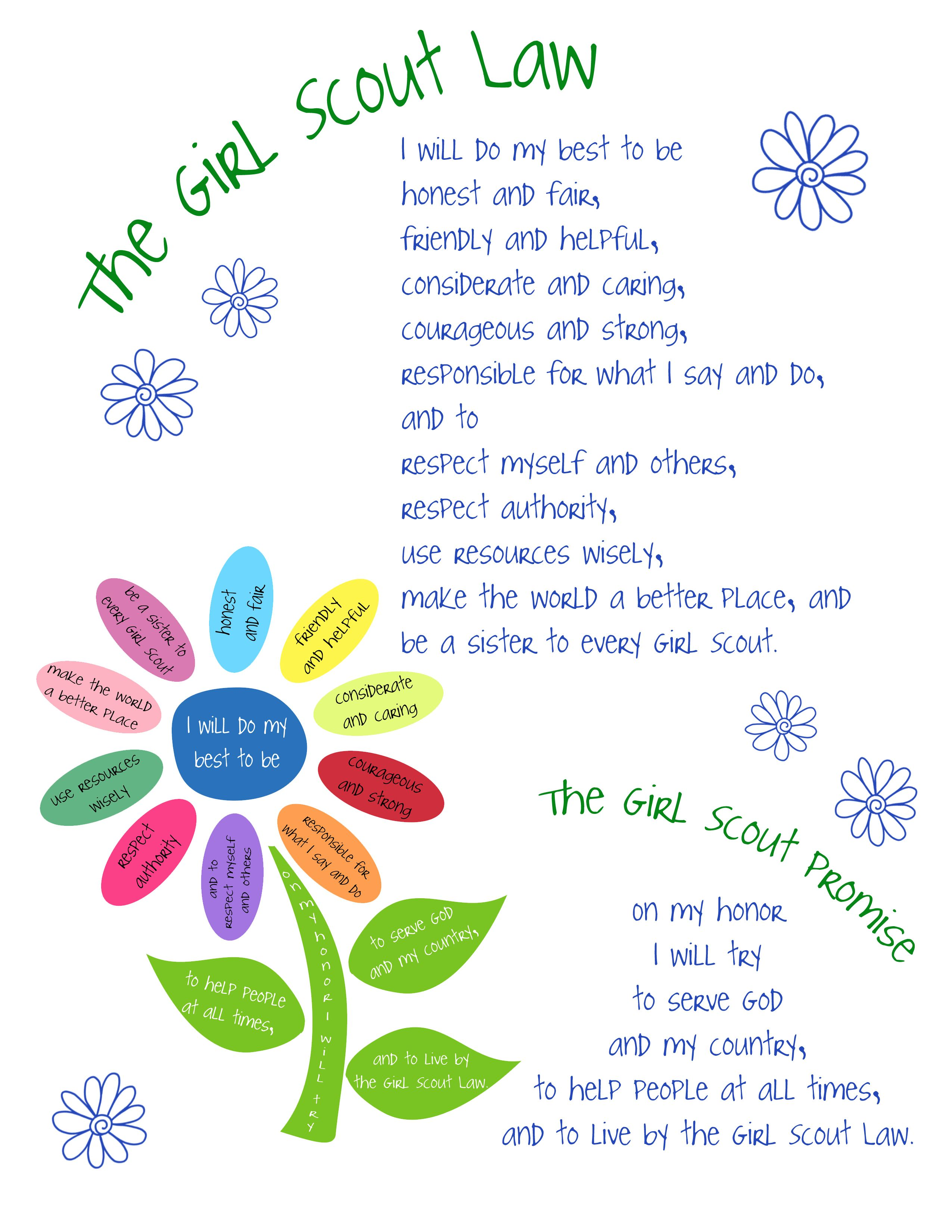 Girl scout law   Kids Girl Scouts Earn Badges/Crafts   Pinterest
