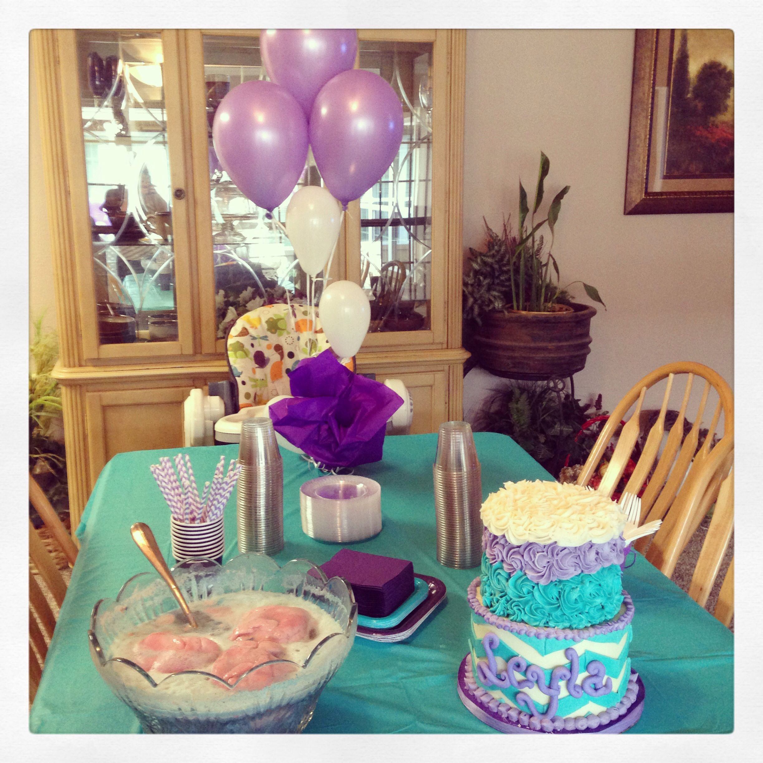 purple and teal chevron baby shower party turquoise baby shower