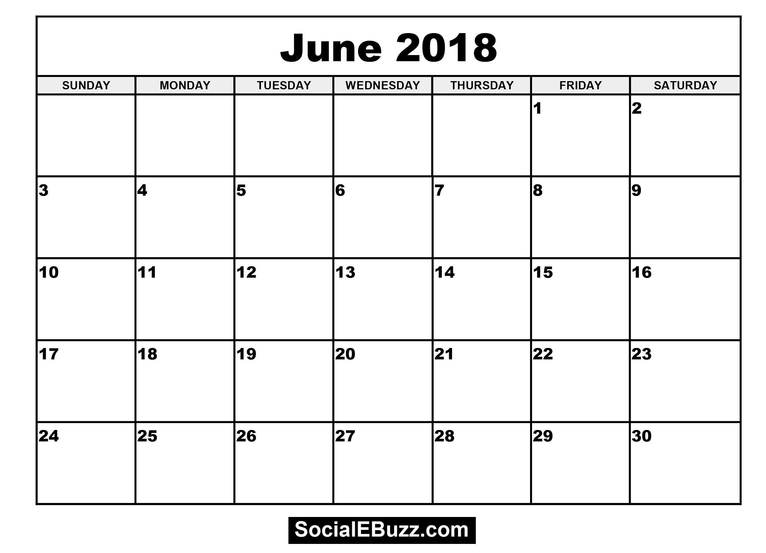 June 2018 Calendar Printable Template, June Calendar 2018, June ...