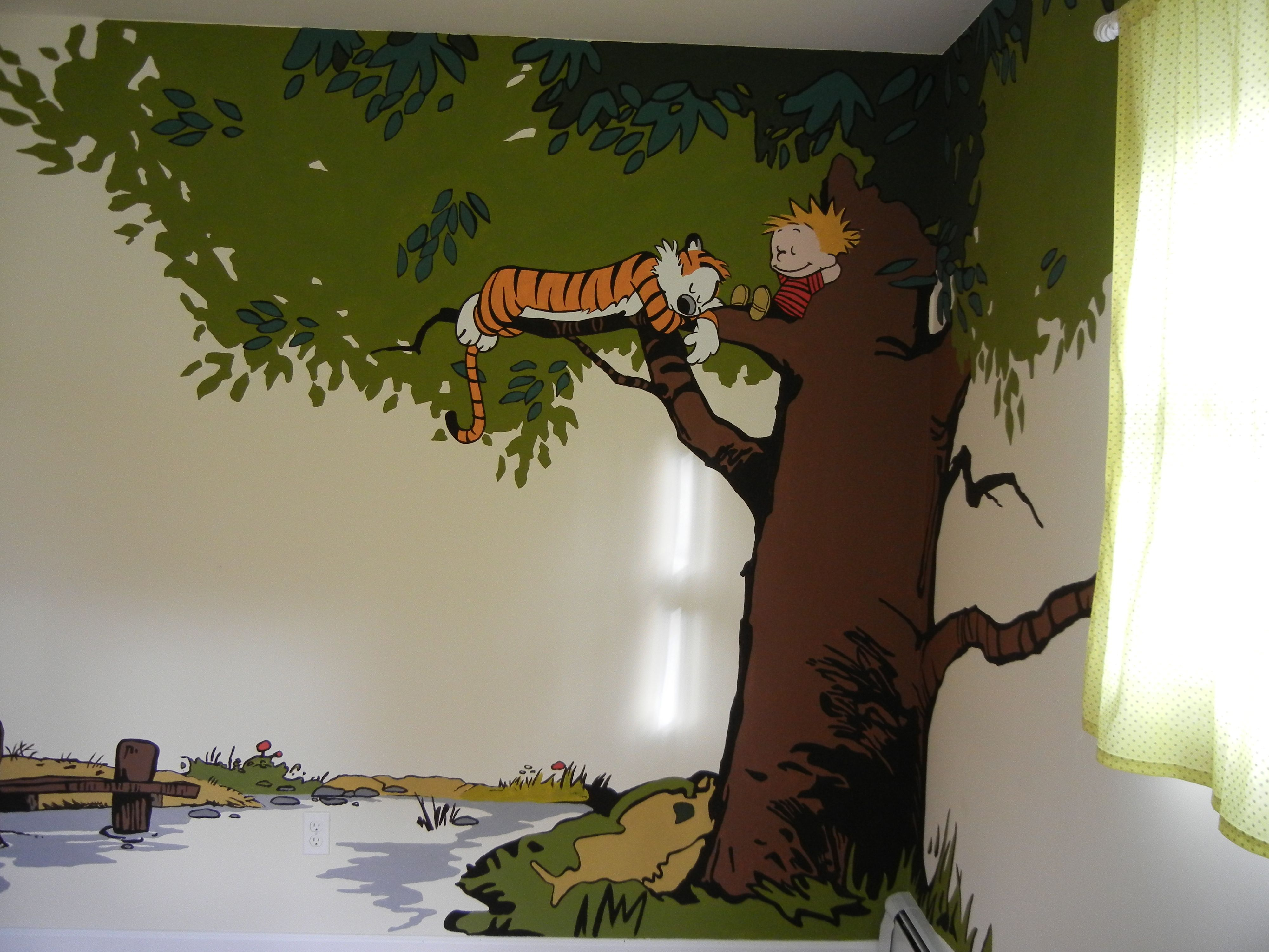 calvin and hobbes mural in nursery murals amp decor sanity with five kids calvin and hobbes mural