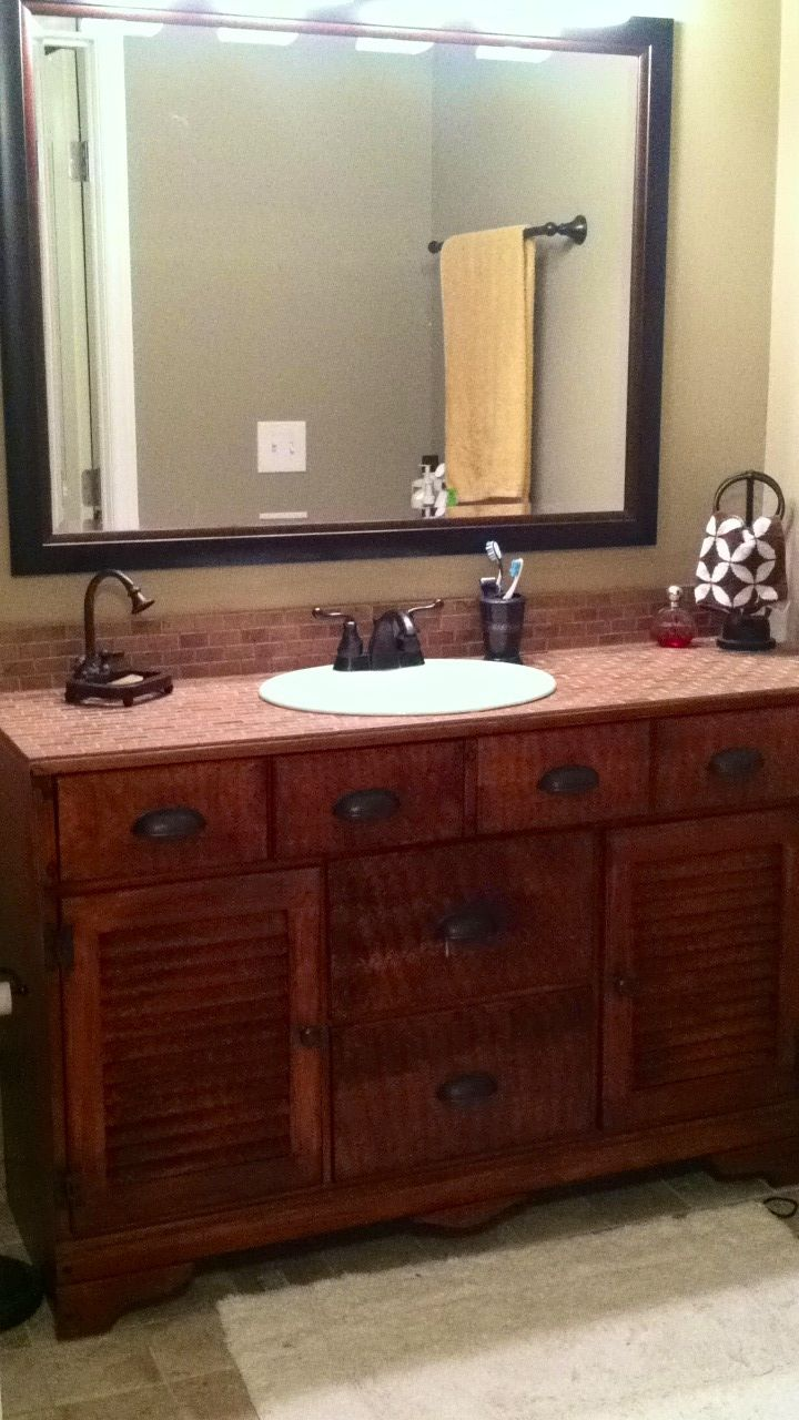 Old dresser made into a bathroom vanity scrub a dub dub