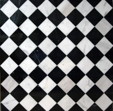 Black and white checkered tile floor