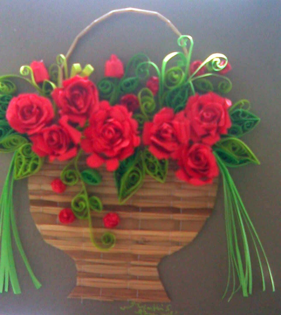 ... MY paper quilling flower baskets( Greeting card) | Pinterest
