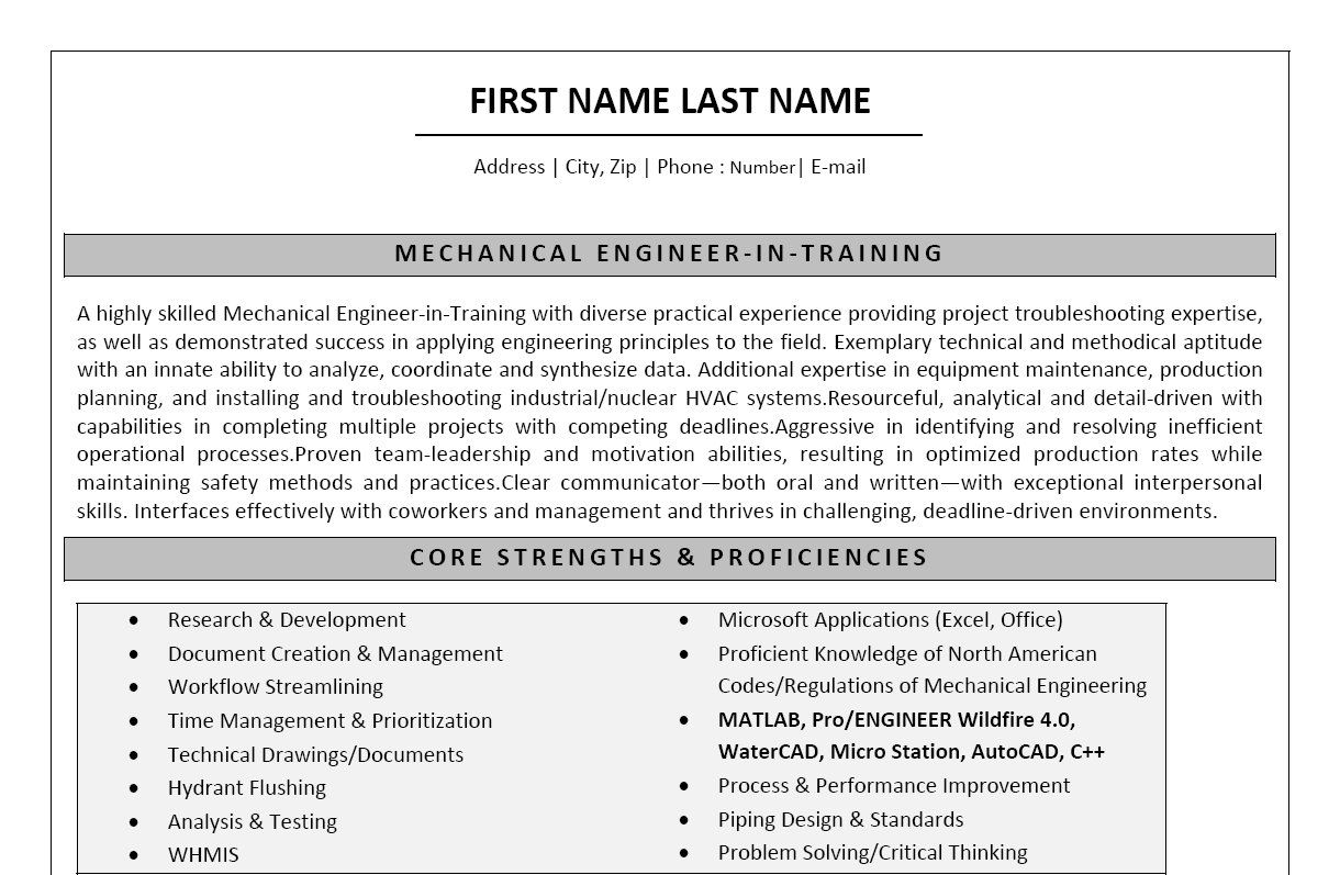 Resume Sample Biomedical Engineer