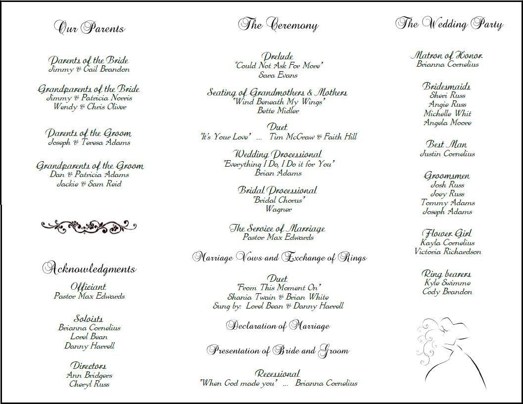 Free Tri Fold Program Template - Long wedding program template