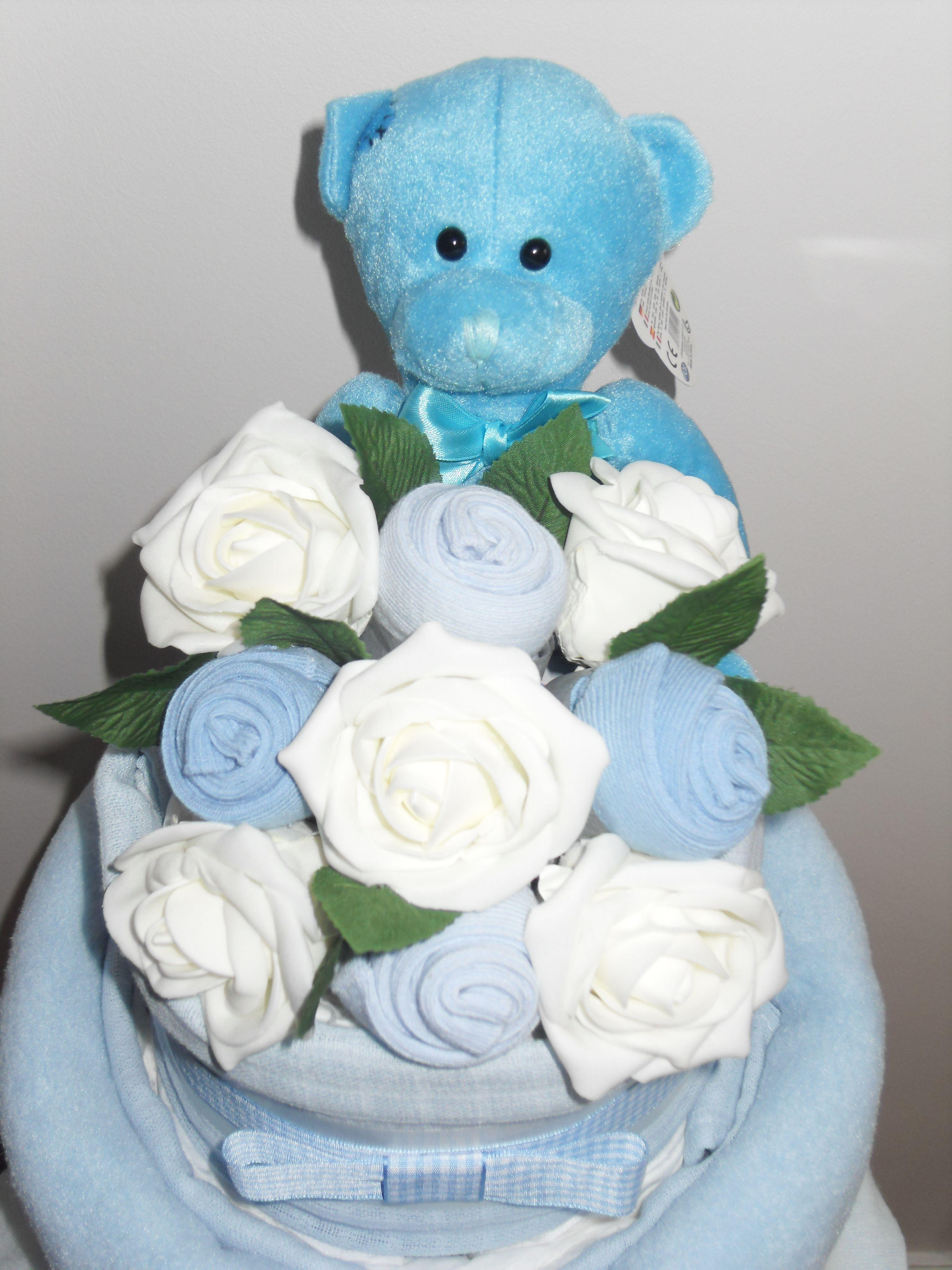 Baby Boy 2 Tier Sock Bouquet Nappy Cake