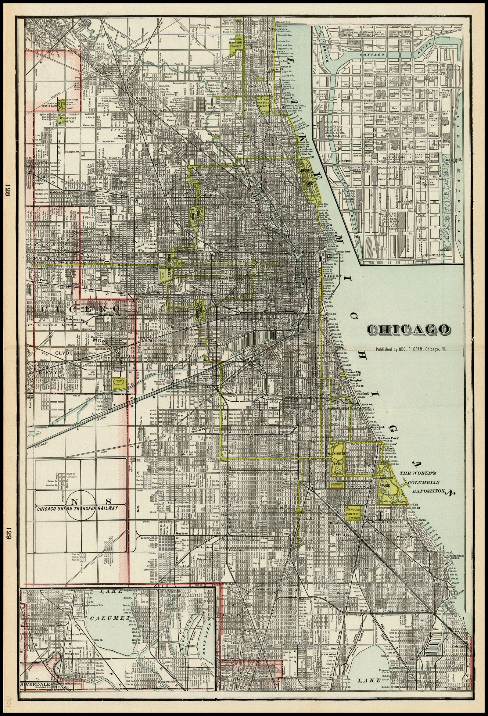 Vintage Map Of Chicago  Home  Pinterest