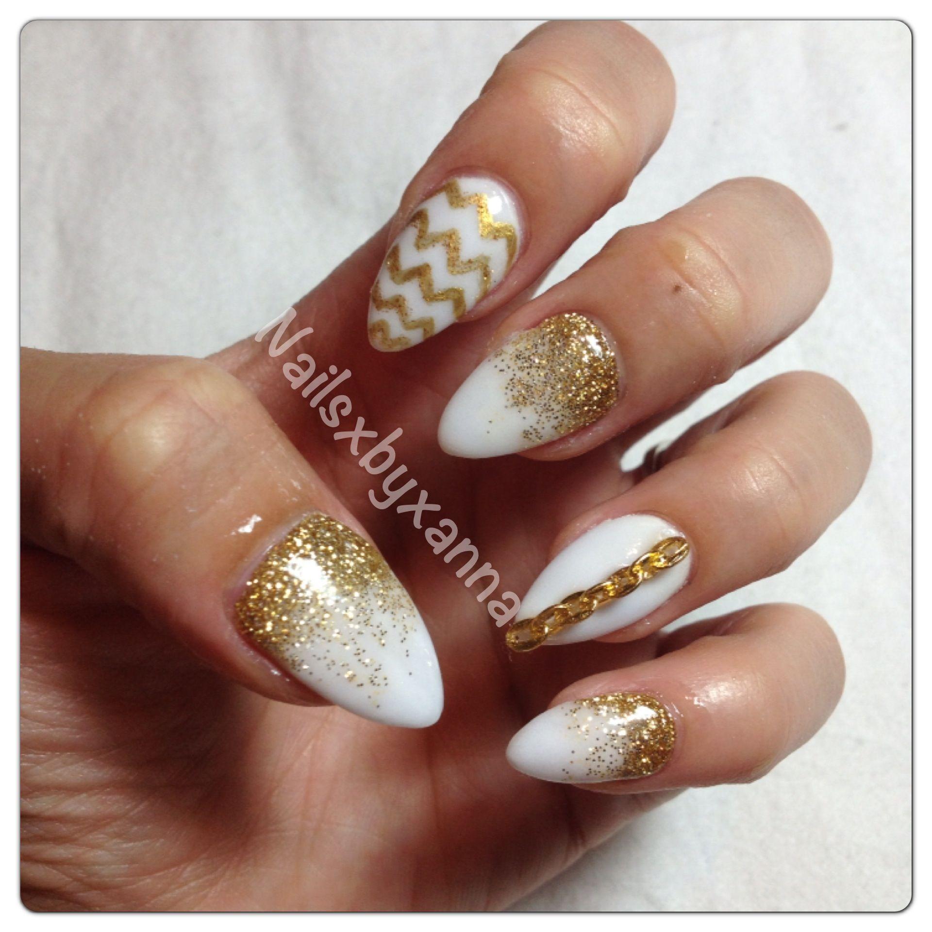 white amp gold nails pinterest