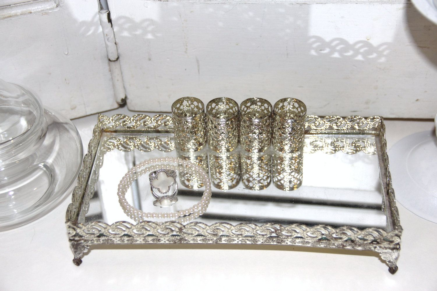 Love this silver mirrored vanity tray beauty pinterest for Mirrored bathroom tray